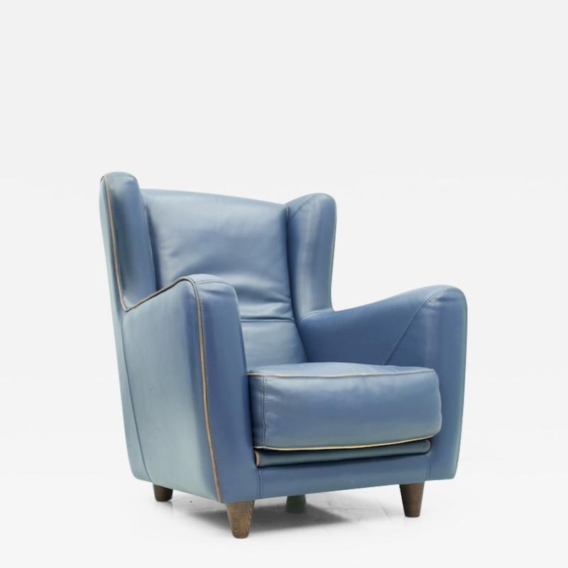 One of Three Blue Leather Lounge Chair Berg re by Baxter Italy