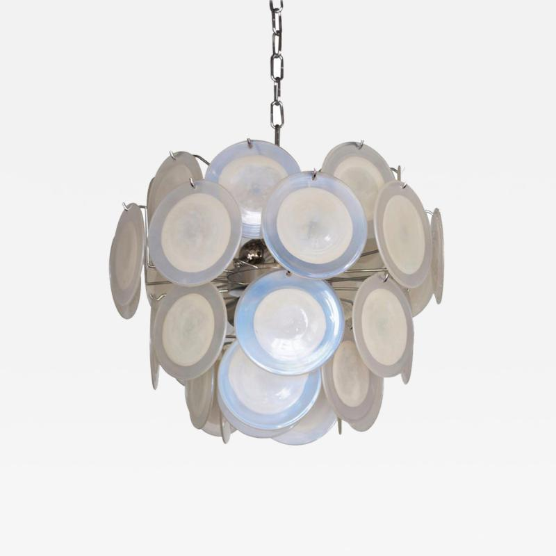 One of Two White Iridescent Murano Glass Disc Chandelier Attributed to Vistosi