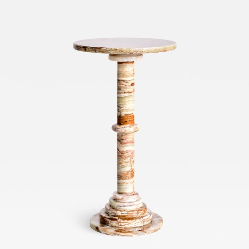 Onyx Side Table with Pedestal Base Italy 1960s
