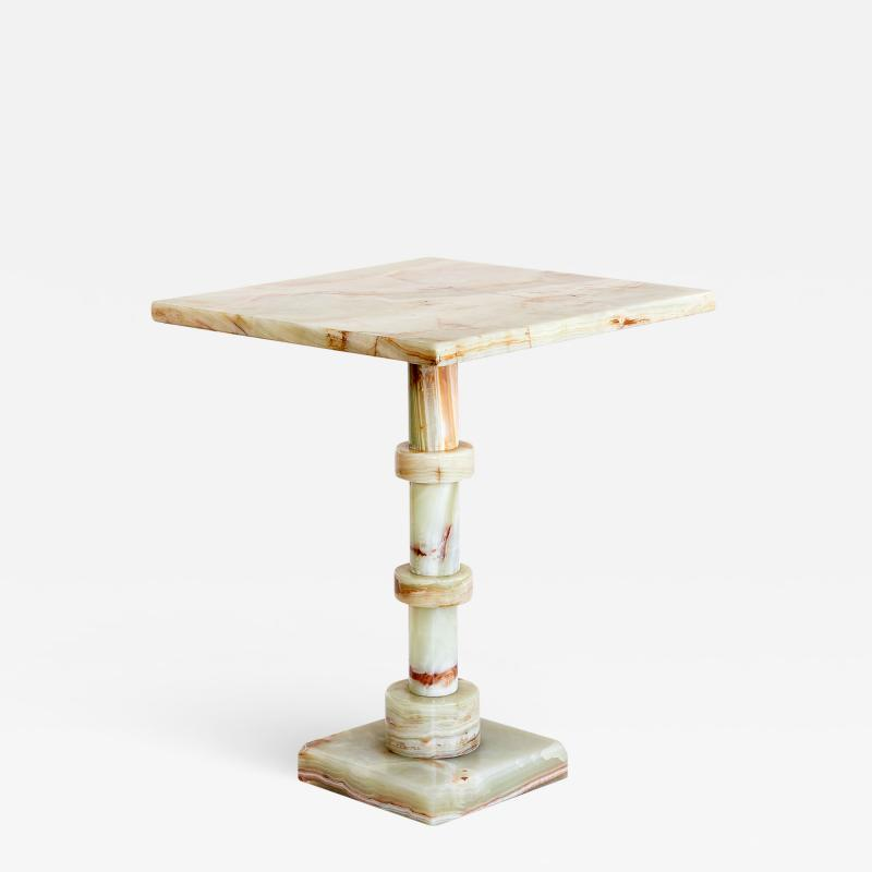 Onyx Side Table with Pedestal Base Italy 1970s