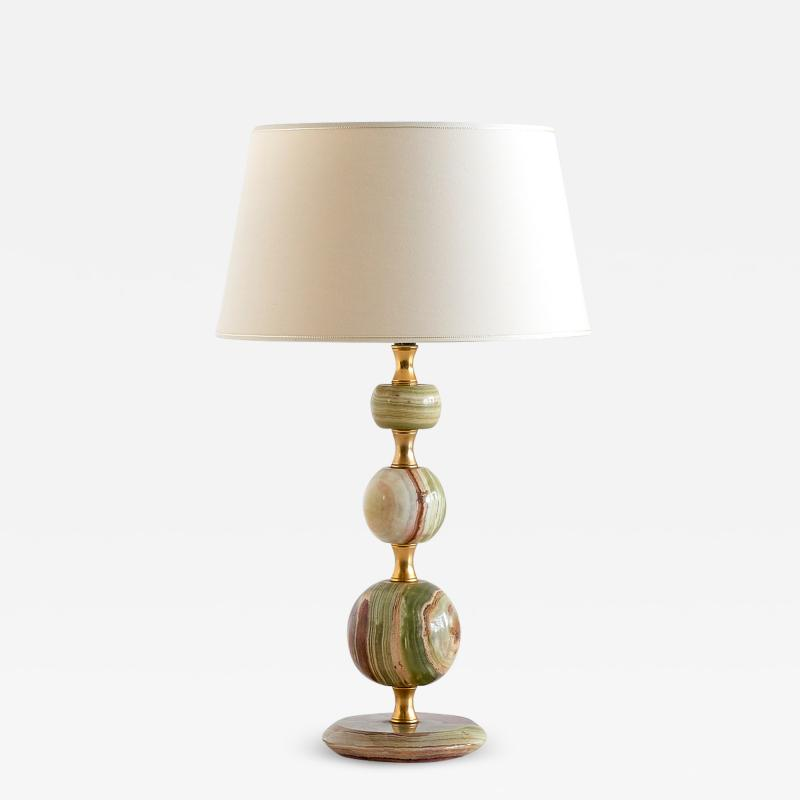 Onyx and Brass Table Lamp with Ivory Shade Italy 1970s