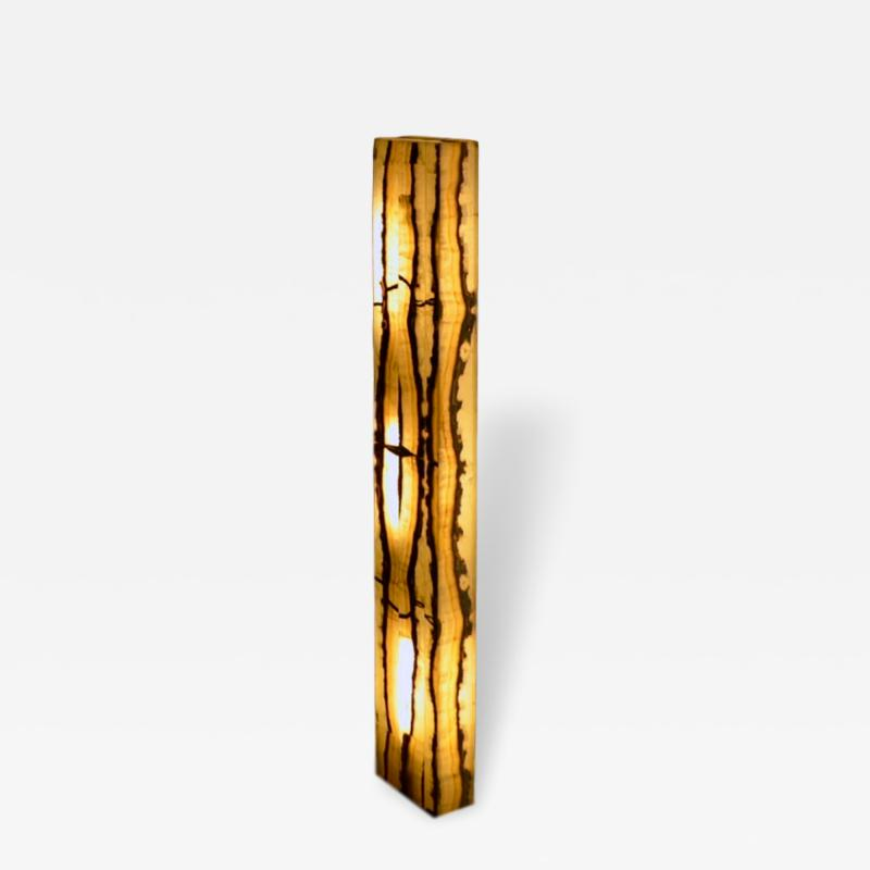 Onyx and Marble Industries Rectangular base New Tower shaped Onyx Floor Lamp Mexico 60 H x 10 L x 4 W