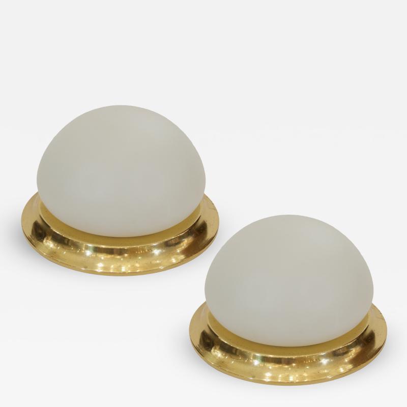 Opal Glass Brass RZB Leuchten Flushmount Lights