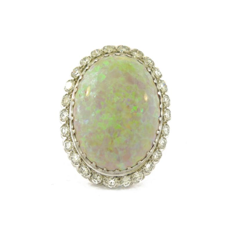 Opal and Diamond Cluster Cocktail Ring