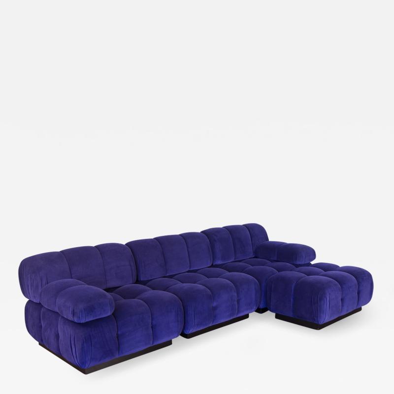 Open Air Modern Purple Blue Velvet Custom Modular Tufted Loveseat with Ottoman