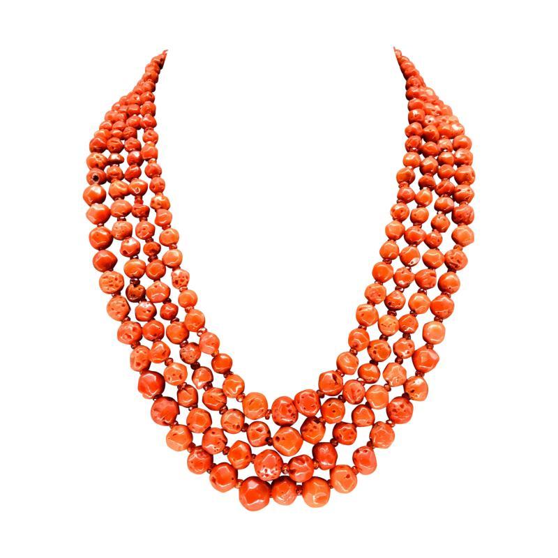 Orange Corals and Orange Zircon Multi Strang Necklaces with Bakelite Clasp