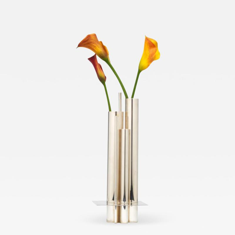 Orgue Graduated Tube Silver Plate Vase by Gio Ponti for Christofle