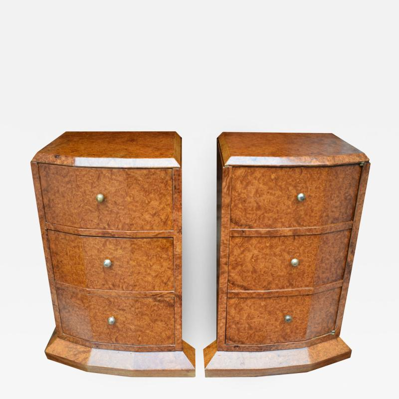 Original 1930s Art Deco Heavily Figured Walnut Bedside Cabinets