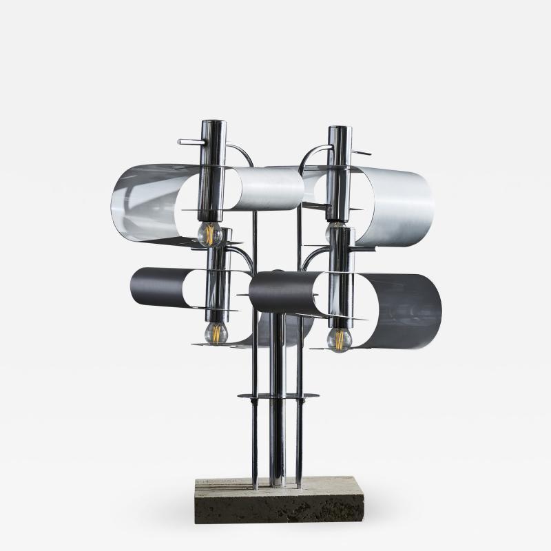 Original Metal Table Lamp with Travertin Foot