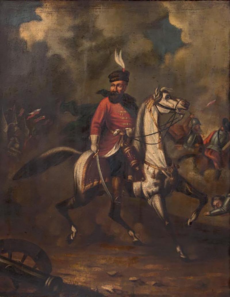 Original Oil Painting Battle Scene of Polish Officer on Horseback
