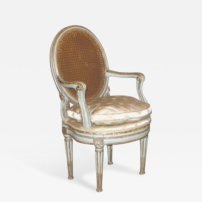 Original Painted and Mecca Silver Gilt Armchair