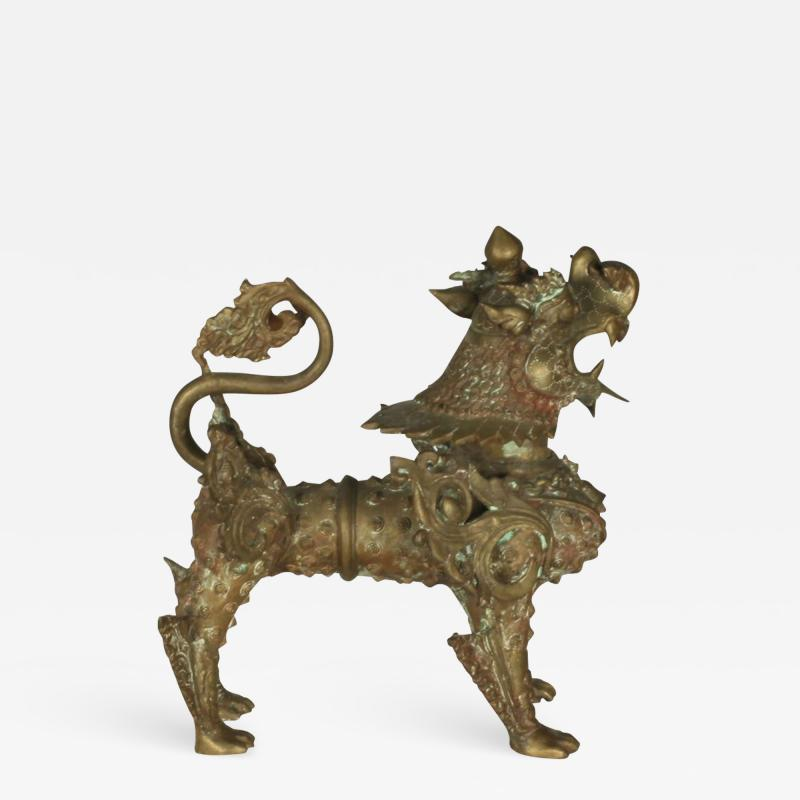 Ornate Standing Bronze Fu Dog Sculpture