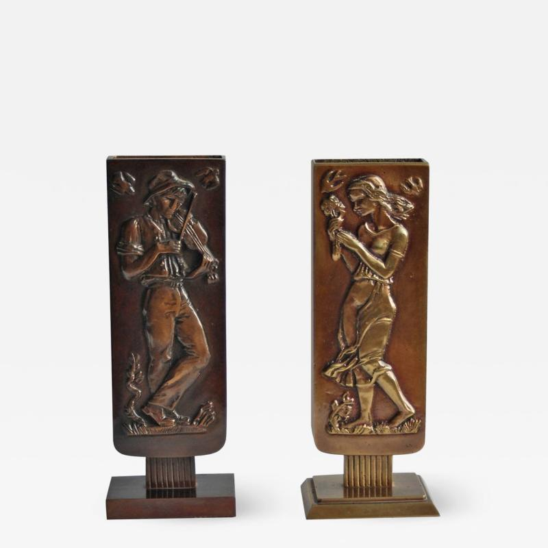 Oscar Arvid Antonsson Pair of Bronze Vases by Oscar Antonsson
