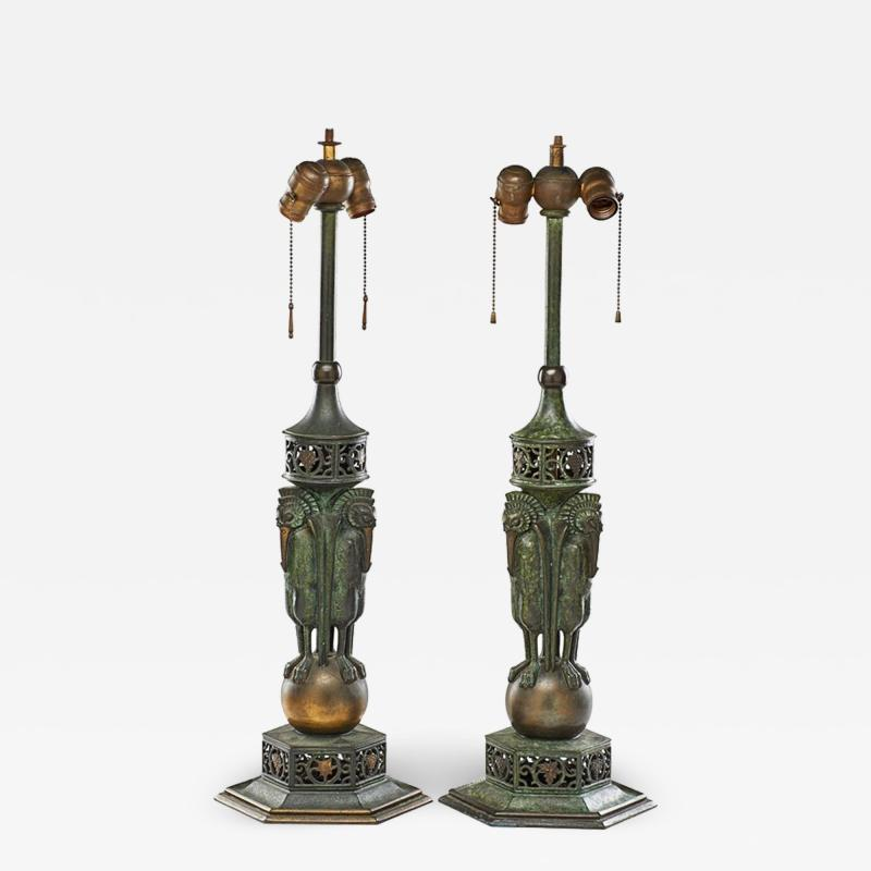 Oscar Bruno Bach Rare pair of bronze patinated table lamp by Oscar Bruno Bach
