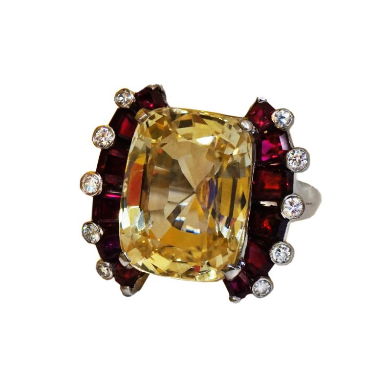 Oscar Heyman natural golden sapphire and ruby ring
