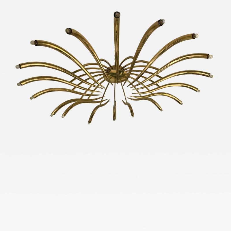 Oscar Torlasco Brass Ceiling Chandelier model 391 by Oscar Torlasco for Lumi Italy 1960s