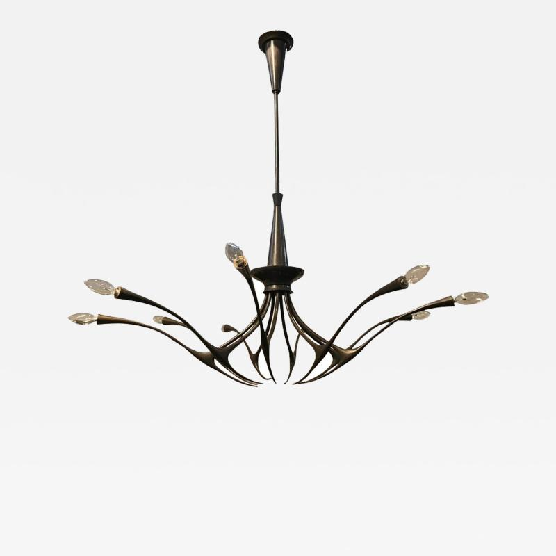 Oscar Torlasco Modernist patinated brass chandelier by Oscar Torlasco