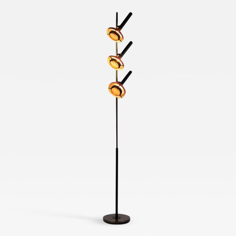Oscar Torlasco Monumental Oscar Torlasco 3 Cone Floor Lamp for Lumi circa 1958