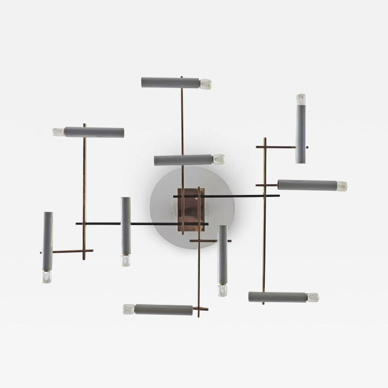 Oscar Torlasco Oscar Torlasco Geometric Ceiling Lamp for Lumi Italy 1950s