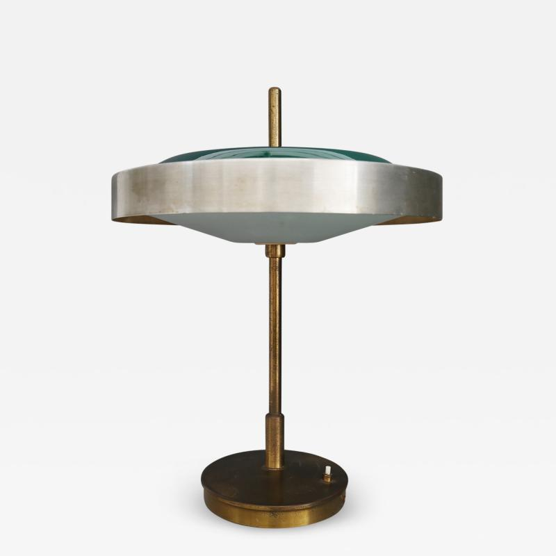 Oscar Torlasco Oscar Torlasco MidCentury Table lamp in brass and cased glass by LUMI 1950s