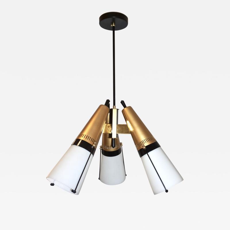 Oscar Torlasco Torlasco 1950s Italian Vintage Brass Black White Three Light Cone Chandelier