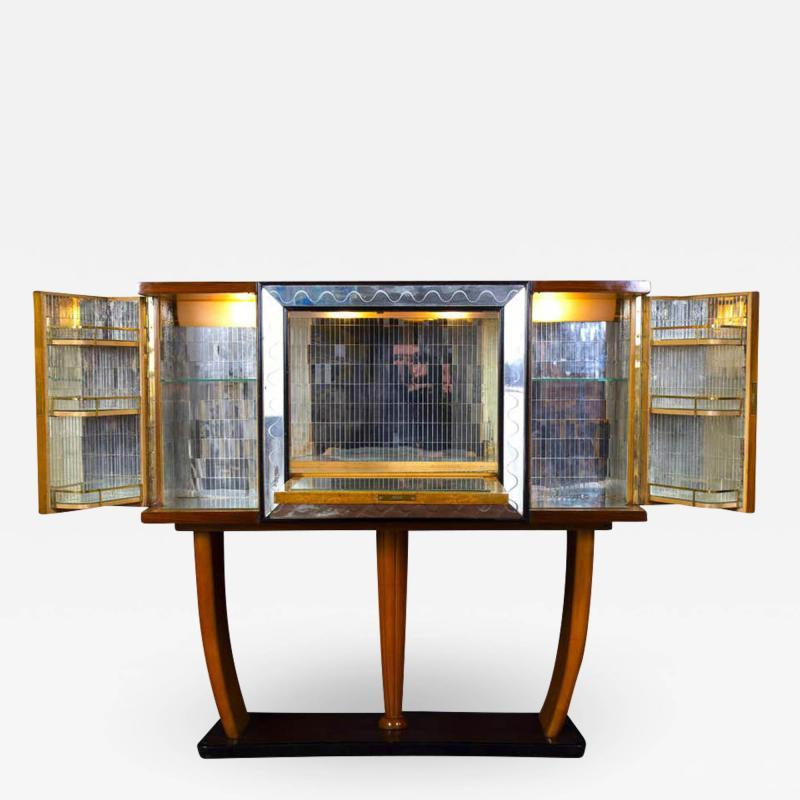 Osvaldo Borsani Art Deco Italian Rare Bar Cabinet Attributed to Osvaldo Borsani