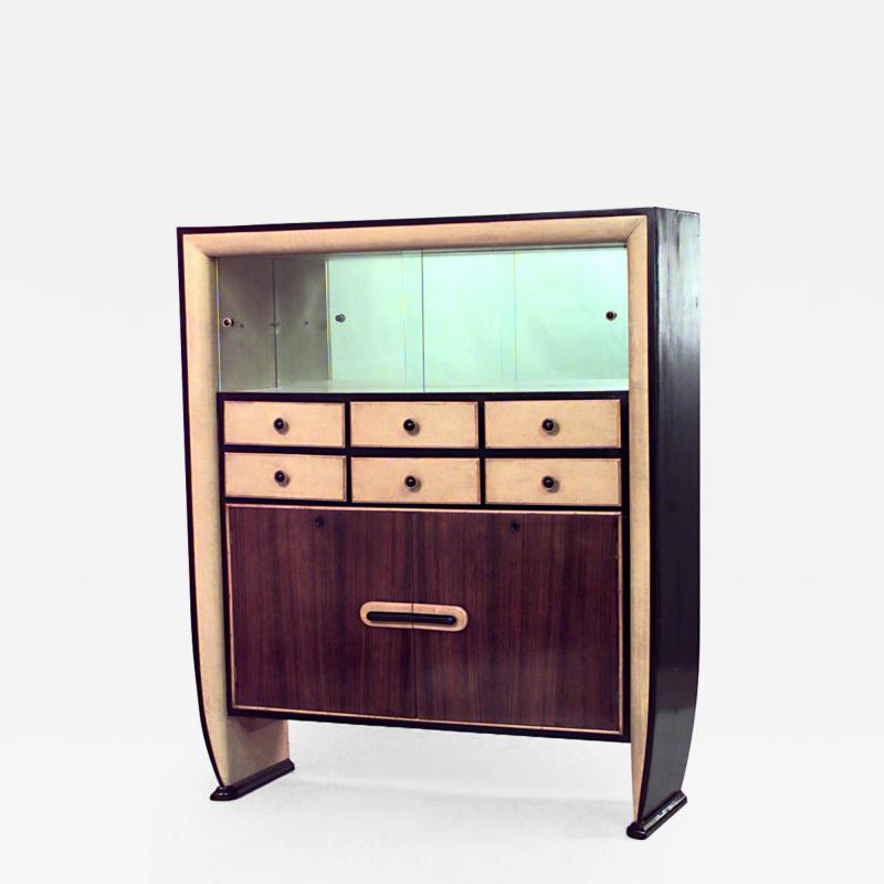 Osvaldo Borsani Italian 1940s Rosewood and Parchment Cabinet