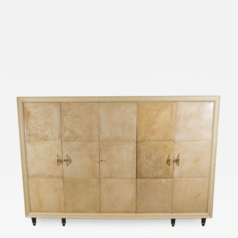 Osvaldo Borsani Large lacquered parchment and maple wardrobe by Osvaldo Borsani