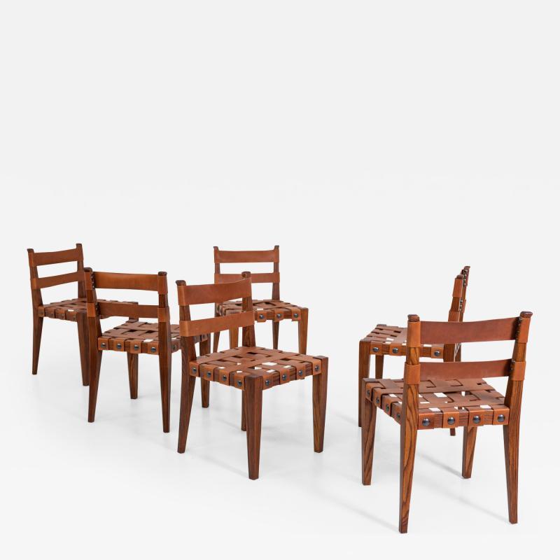 Osvaldo Borsani Osvaldo Borsani Chairs in Wood and Letaher rare