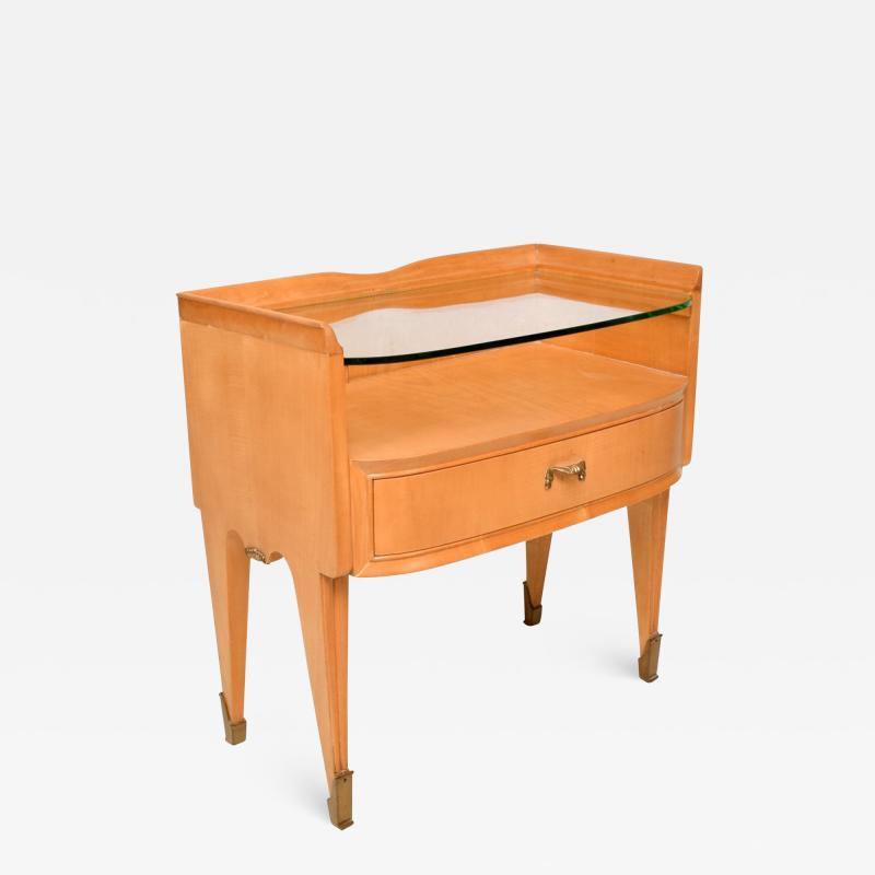 Osvaldo Borsani Osvaldo Borsani Elegant Maple Blonde Brass Nightstand Glass Top ITALY 1940s