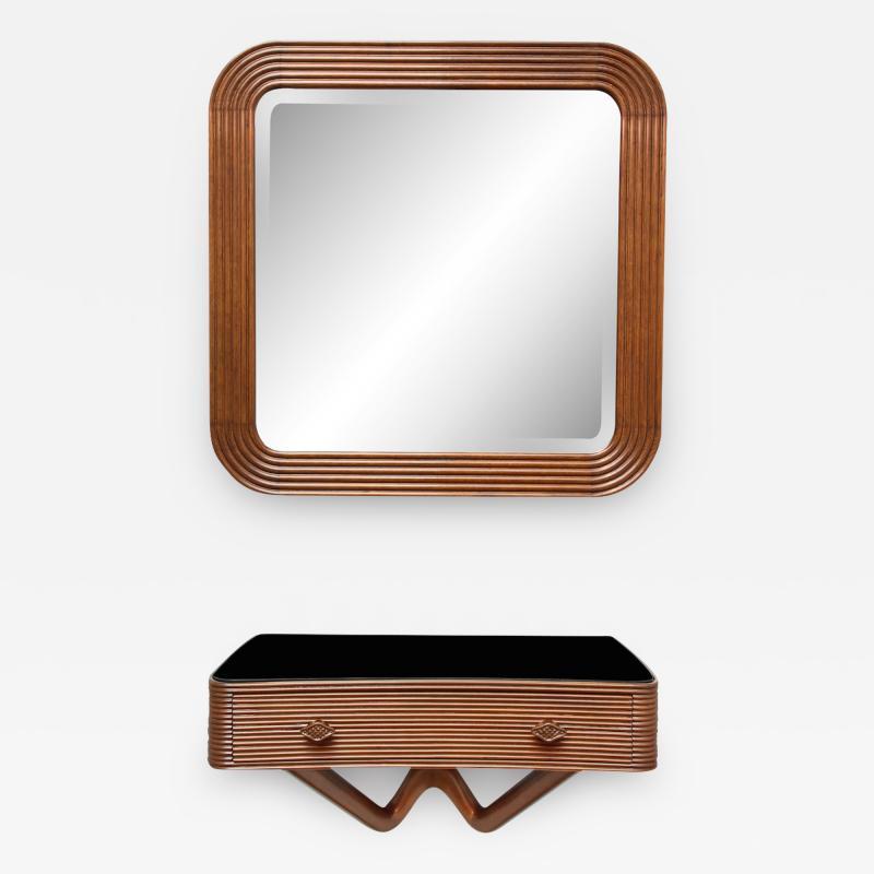Osvaldo Borsani Wall mounted Console Mirror by Osvaldo Borsani