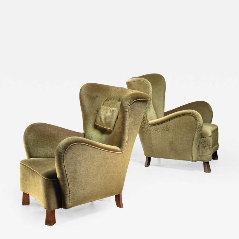 Otto Schultz Pair of green Otto Schulz lounge chairs Sweden 1930s