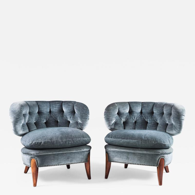 Otto Schulz Pair of Scandinavian Midcentury Easy Chairs by Otto Schulz