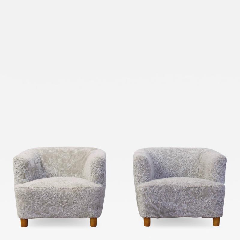Otto Schulz Pair of Shearling Upholstered Barrel back chairs by Otto Schulz for Boet