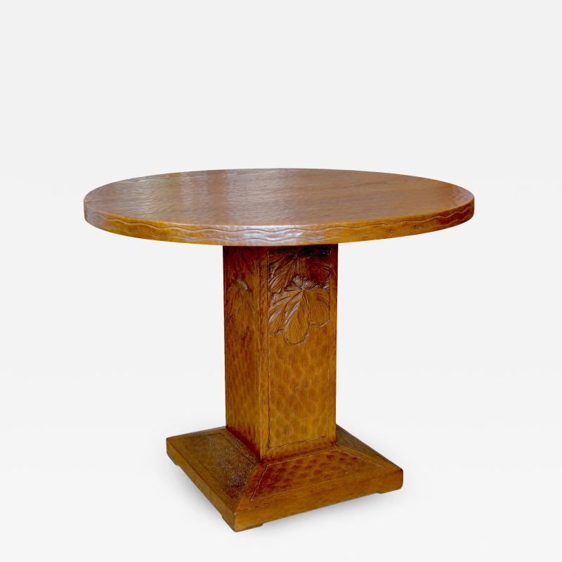 Otto Wretling Arts and Crafts Table in Gouged Oak by Otto Wretling