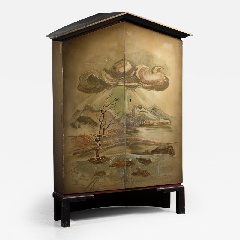 Otto Wretling Otto Stig Wretling decorated wooden cabinet