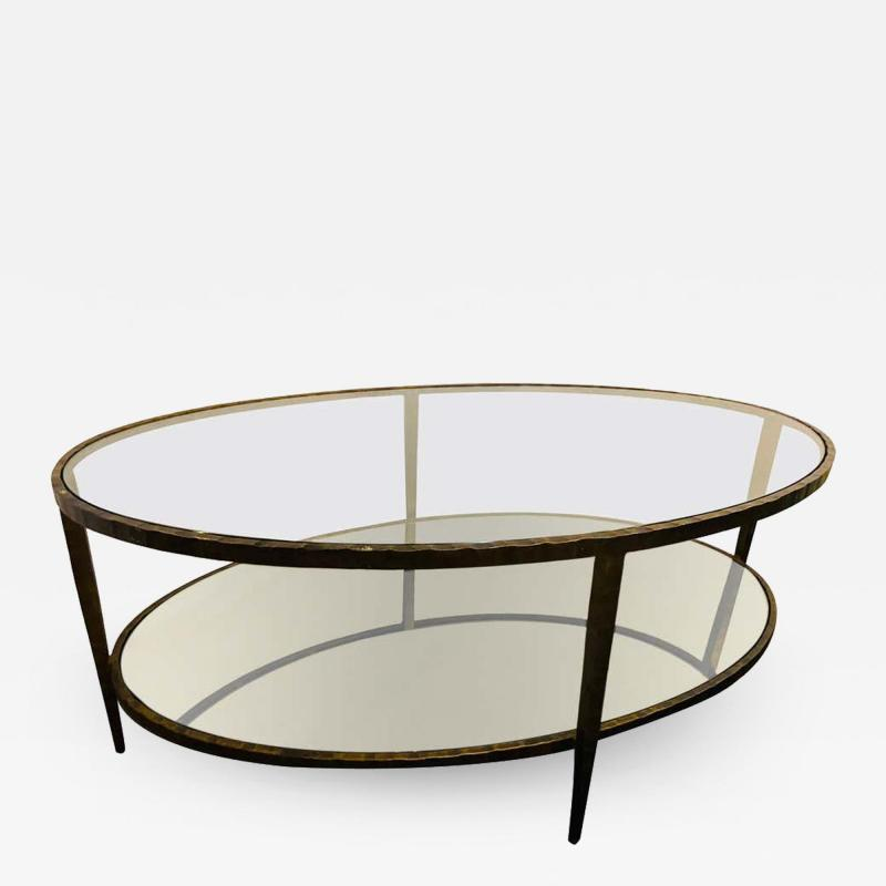 Oval Antiqued Metal Coffee Low Table with Glass Top