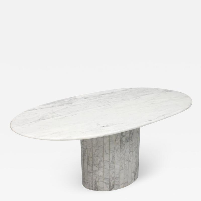 Oval Dining Table in White Carrara Marble Italy 1960
