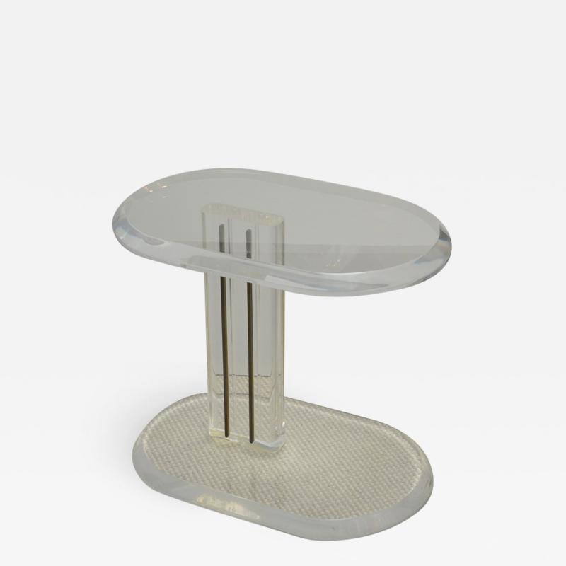 Oval Mid Century Lucite Side Table