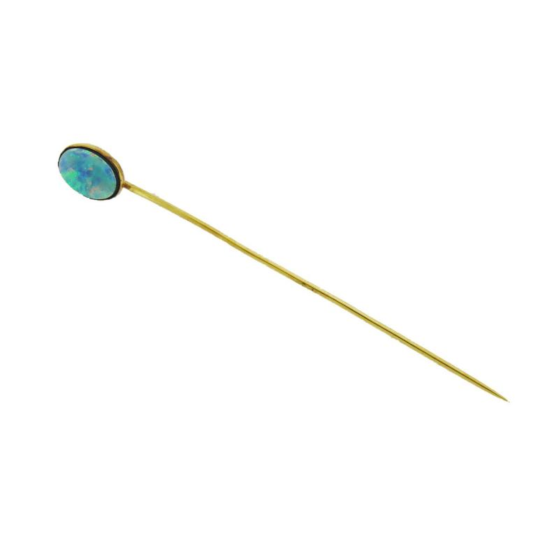 Oval Opal Gold Stick Pin