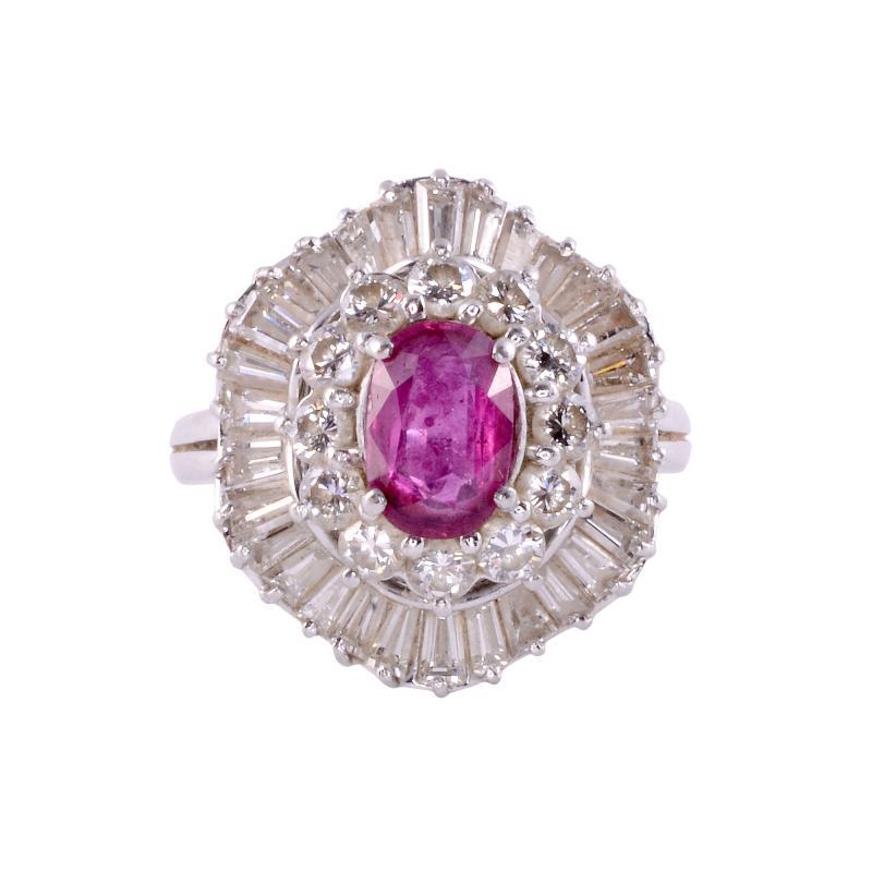 Oval Ruby Diamond Platinum Ring