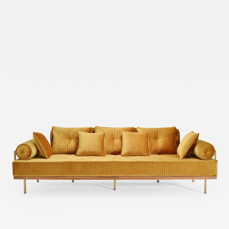 P Tendercool Bespoke Sofa with Brass and Reclaimed Hardwood Frame by P Tendercool in Stock