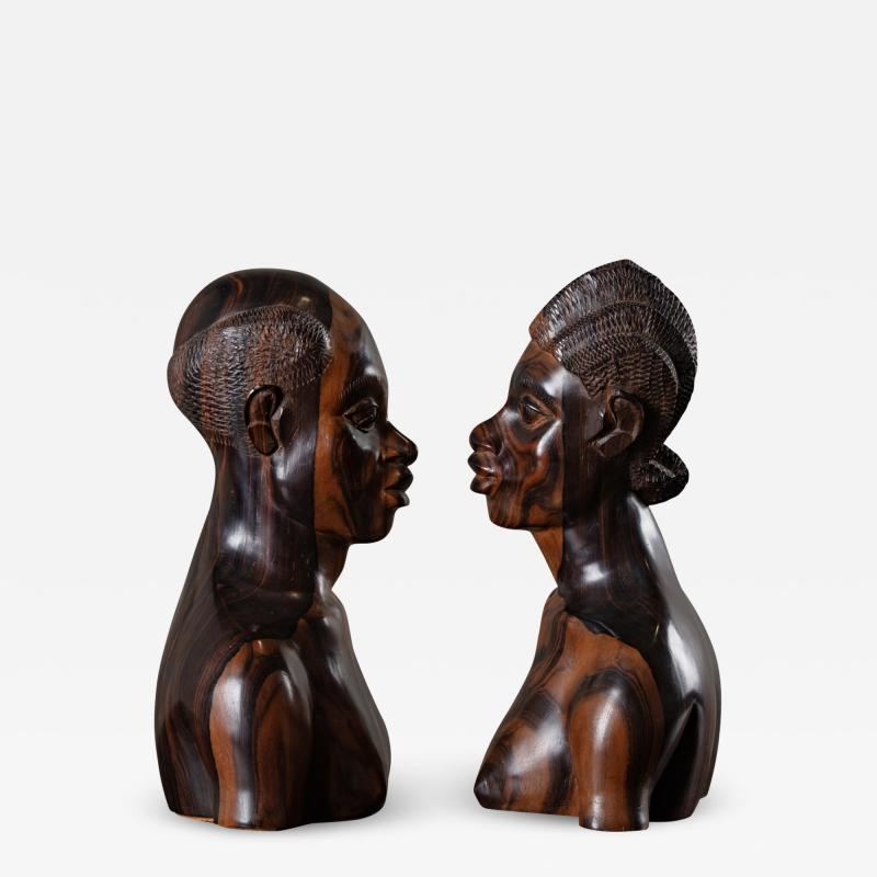 PAIR OF AFRICAN IRONWOOD MALE AND FEMALE BUSTS
