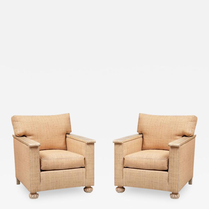 PAIR OF ART DECO LIME OAK AND RAFFIA ARMCHAIRS