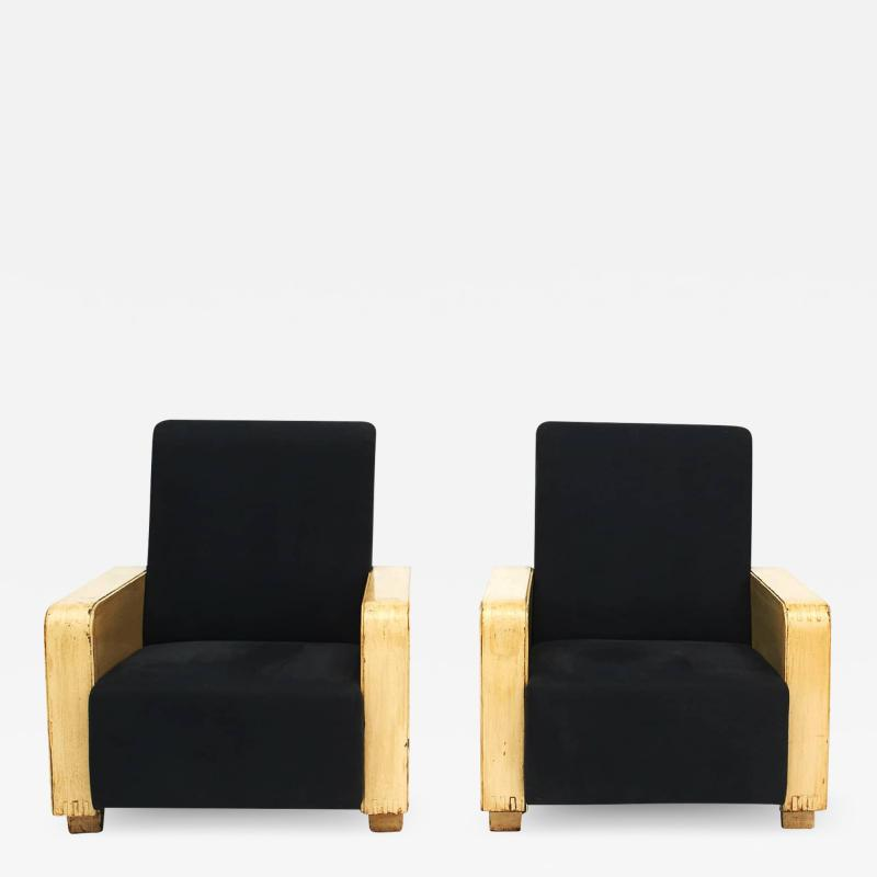 PAIR OF CHINESE ART DECO LOUNGE CHAIRS WITH WITH WOODEN ARMRESTS