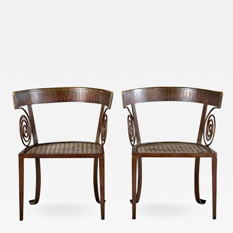 PAIR OF CUSTOM IRON CHAIRS