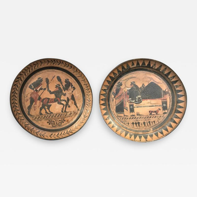 PAIR OF ETRUSCAN STYLE HAND PAINTED TERRACOTTA CHARGERS