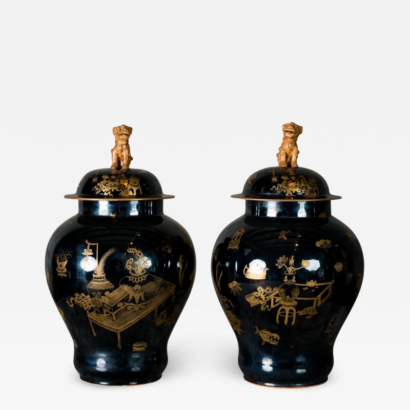 PAIR OF MODERN CHINESE VASES WITH LIDS