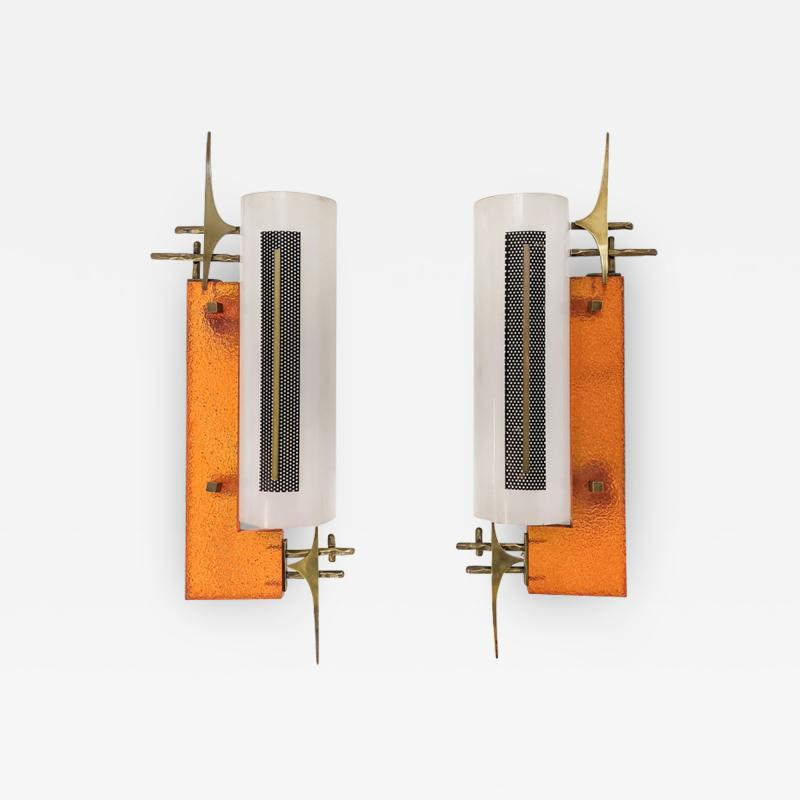PAIR OF PERSPEX AND BRASS SCONCES 1950