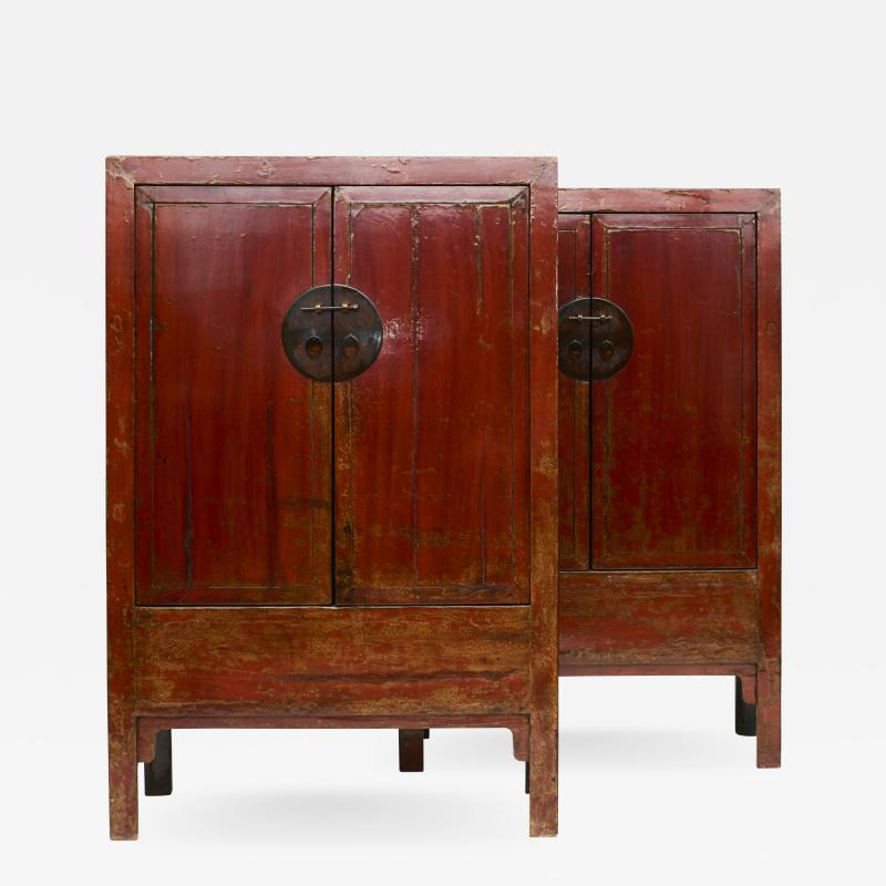 PAIR OF RED LACQUERED WEDDING CABINETS SHANXI PROVINCE C 1840